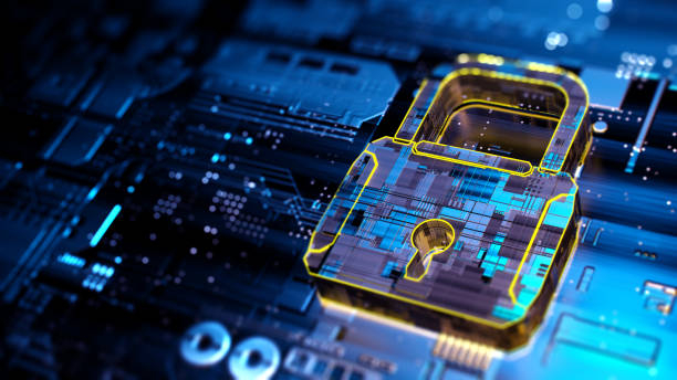Digital background depicting innovative technologies in security systems, data protection cyber seccurity